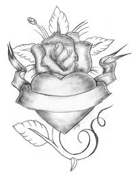 rose heart banner tattoo sketch tattooshunter com