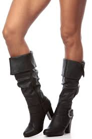 s boots calf length black faux leather slouch calf length chunky heel boots cicihot