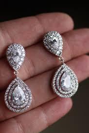 bridal clip on earrings bridal drop earrings wedding jewelry swarovski