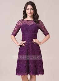 purple lace bridesmaid dress a line princess scoop neck knee length lace bridesmaid dress