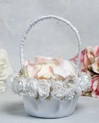 wedding baskets plush satin and organza wedding flower girl basket wedding