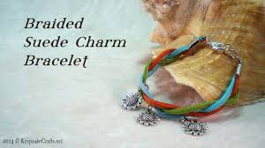 braided bracelet with charms images Braided suede charm bracelet tutorial jpg