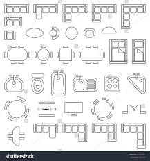 standard furniture symbols used architecture plans stock vector
