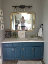 bathroom colors vintage light gray accent wall towel blue vanity