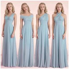 convertible bridesmaid dresses light sky blue chiffon wedding