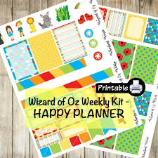 printable yellow brick road printable happy planner wizard of oz weekly kit dorothy toto yellow