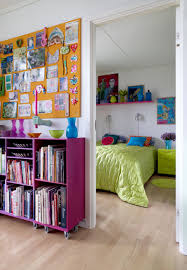 Colorful Bookcases Bedroom Astounding Colorful Teenage Bedroom Decoration Using