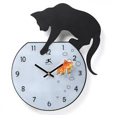 cute aquarium wall clock black cat orange fish design unique and
