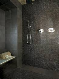bathroom shower tile ideas black high glossy finished sink simple