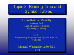 topic 3 binding time and symbol tables dr william a maniatty