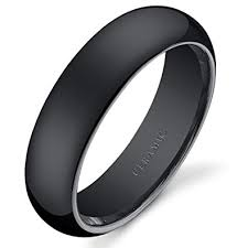 ceramic wedding bands 6mm dome style mens and womens black ceramic wedding band