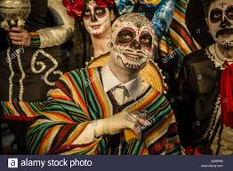 mexican halloween makeup sitges catalonia spain 16th feb 2015 revelers in mexican