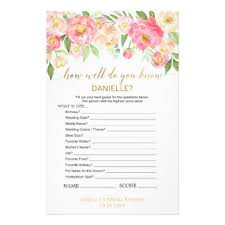 bridal shower question bridal shower questions flyers programs zazzle