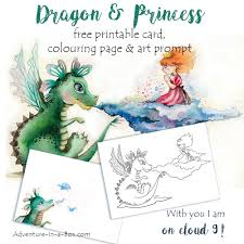 dragon and princess free printable card colouring page art