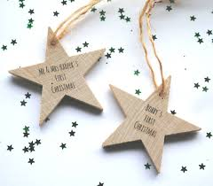personalised hanging christmas star decoration hanging christmas
