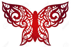 laser cut flower butterfly pattern for decorative panel vector