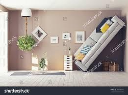 strange living room interior 3d design stock illustration