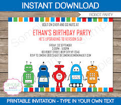 robot party invitations template birthday party