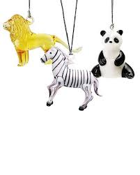 set of 3 glass animal ornaments smithsonian store