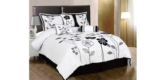 Black Duvet Cover Set White Grey And Black Lily With Leaf Applique King Size Duvet Cover