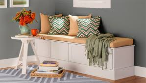 Window Storage Bench Seat Plans by Built In Bench Seat From Stock Cabinets