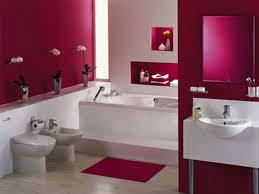 divine white standart tub with red wall panel as well as white