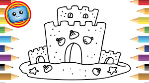 how to draw a sand castle colouring book simple drawing game