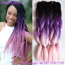 ombre kanekalon braiding hair black purple light pink ombre kanekalon braiding hair 24