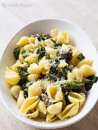 Pasta Sausage Shell Pasta With Sausage And Greens Recipe Simplyrecipes Com