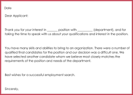Rejection Letter To Candidate rejection letters 20 free sles formats for hr