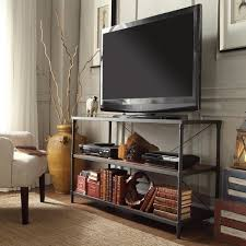 console table tv stand harrison industrial rustic pipe frame tv stand console table by