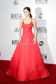 selena gomez red satin celebrity ball gown prom dress 2016