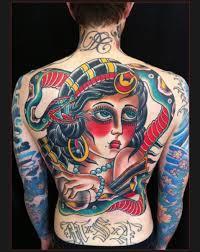 tattoo back face back old school girl face tattoo by chapel tattoo best tattoo