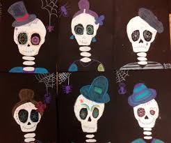 Skeleton Halloween Crafts Halloween Painted Skeletons This Middle Art Lesson Is