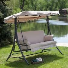 Swinging Patio Chair 3 Person Canopy Swing Outdoor Porch Patio Furniture In Taupe
