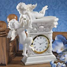 Home Interior Angel Figurines Baroque Twin Cherubs Clock