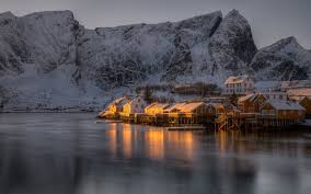 Winter Houses by Pictures Lofoten Norway Reine Winter Mountains Snow Rivers 2560x1600
