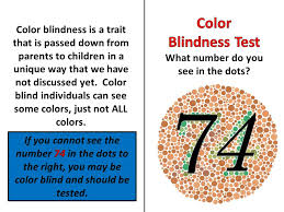 Color Blind Children Color Blindness Is A Trait That Is Passed Down From Parents To