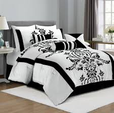 King Black Comforter Set Amazon Com Chezmoi Collection 7 Piece White With Black Floral