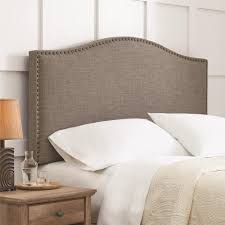 bedroom interesting padded headboard for bedroom decoration ideas gray upholstered padded headboard with nailhead plus nightstand and wainscoting for bedroom decoration ideas