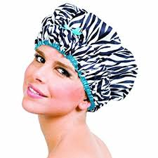 betty dain sassy stripes shower cap zebra print teal