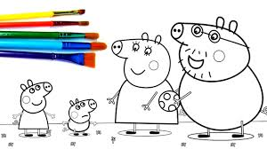 how to paint peppa pig with her family coloring book pages