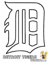 detroit tigers logo stencil baseball coloring sheet baseball in