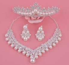 luxury silver necklace images 2016 luxury design pearl bridal jewelry sets crystal silver plated jpg