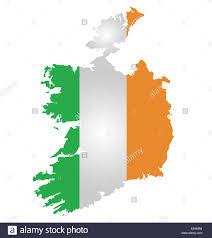 flag of the republic of ireland overlaid on detailed outline map