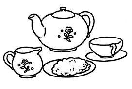 and white clipart tea set