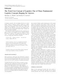 the total cost concept of logistics one of many fundamental