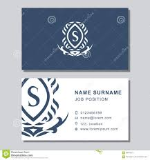 business card template with abstract monogram design elements
