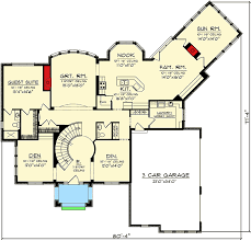 home plan with dramatic spiral staircase 89857ah architectural
