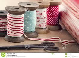 ribbon spools wooden ribbon spools paper rolls and scissors royalty free